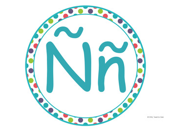 SPANISH Circle Word Wall Letters - Dots, Green, Purple, Teal, Red