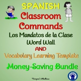 SPANISH Classroom Commands Word Wall and Vocabulary Learning Template Bundle