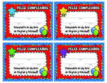 SPANISH Classroom Decoration Star Birthday Posters and Certificates