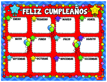SPANISH Classroom Decoration Star Birthday Posters and Cer
