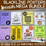 SPANISH Classroom Posters Bundle | Numbers, Shapes, Colors, & U.S. Coins Posters