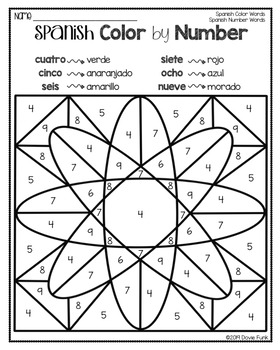 SPANISH Color by Number Worksheets COLOR WORDS AND NUMBER ...