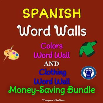 SPANISH Colors and Clothing Word Walls Bundle