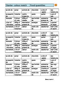 SPANISH - COLOUR MATCH - Food quantities