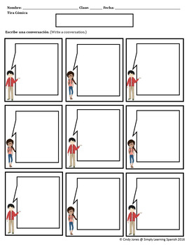 """SPANISH """"Comic Strips"""" *Color & Black and White Templates"""