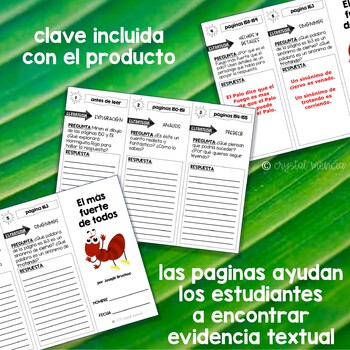 SPANISH Comprehension Trifold for use with El Mas Fuerte de Todos