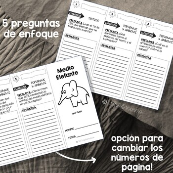 SPANISH Comprehension Trifold - Medio Elefante