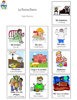 spanish daily routine vocabualry by stone studios tpt. Black Bedroom Furniture Sets. Home Design Ideas