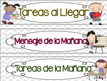 SPANISH Daily Schedule Signs - gray chevron