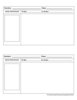 "SPANISH ""Daily Warm-up"" TEMPLATES"