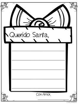 SPANISH Dear Santa Christmas Writing Printables
