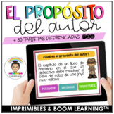 Author's Purpose Task Cards in Spanish (PIE) |Propósito del  | Distance Learning