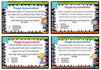 SPANISH Differentiated Character Traits  **48 TASK CARDS**// Rasgos del carácter