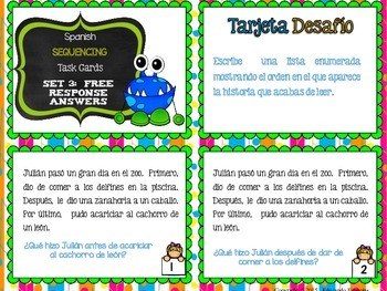 SPANISH Differentiated Sequencing Task Cards (La secuencia temporal)
