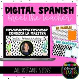 SPANISH Digital Meet the Teacher   EDITABLE Slides Template