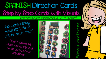 SPANISH Direction Cards with Steps & Visuals