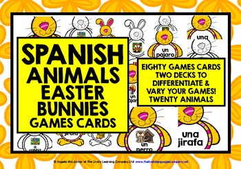 SPANISH ANIMALS EASTER BUNNY CARDS
