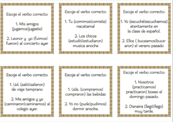 "SPANISH ""EL PRETÉRITO"" Task Cards & Printables Kit"