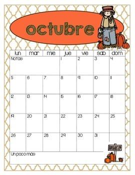 SPANISH / ESPAÑOL Monthly Calendars - 2015-2016 Academic School Year