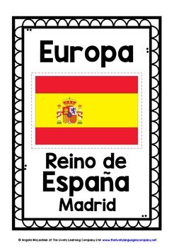 SPANISH EUROPEAN COUNTRIES, CAPITAL CITIES & FLAGS POSTERS - ¡EN ESPAÑOL!