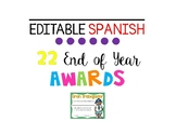 SPANISH Editable End of Year Awards