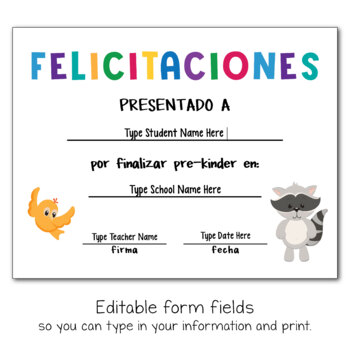 Editable End of the Year Awards in SPANISH
