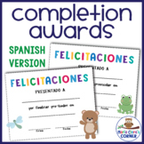Spanish End of the Year Completion Awards for Preschool, Pre-K & Kindergarten