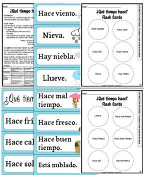 SPANISH- El Tiempo- ¿Qué tiempo hace?(Weather) Activities, Flash cards and more