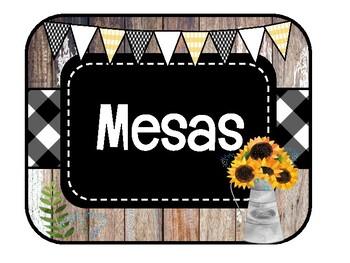 SPANISH FARMHOUSE Table Signs /Etiquetas para mesas