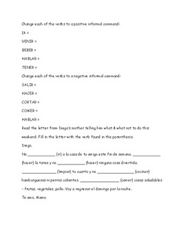 SPANISH FOOD AND COMMANDS STUDY GUIDE