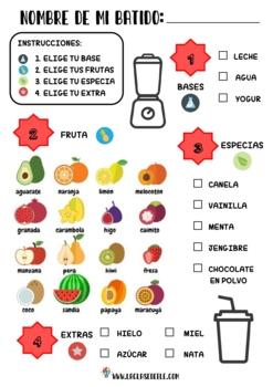 SPANISH FRUITS VOCABULARY + SMOOTHIE RECIPE ACTIVITIES