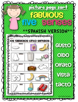 **SPANISH** Fabulous Five Senses Picture Sort {Science for Kindergarten & First}