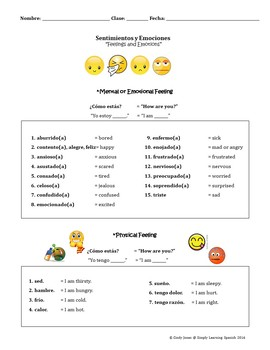 "SPANISH ""Feelings and Emotions"" Mini-Lesson"