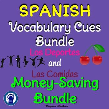 SPANISH Foods and Sports Sets Vocabulary Cues Bundle