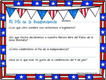 SPANISH Fourth of July Packet - Reading, Writing, Math and Coloring