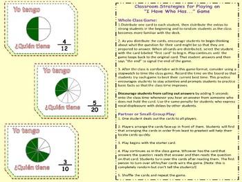 SPANISH I HAVE WHO HAS identificacion de las fracciones Yo Tengo Juego Fraction