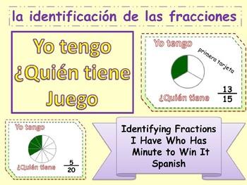 SPANISH I HAVE WHO HAS identificacion de las fracciones Yo
