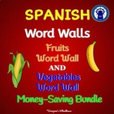SPANISH Fruits and Vegetables Word Walls Bundle