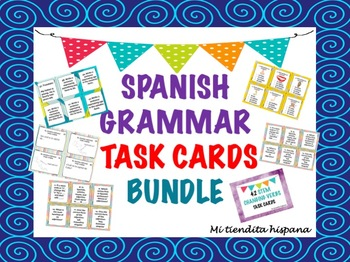 SPANISH GRAMMAR AND VOCABULARY TASK CARDS BUNDLE