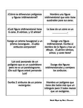SPANISH Geometry Task/Station Cards