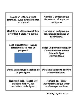 SPANISH Geometry Task/Station Cards