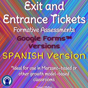 Google Forms Entrance and Exit Tickets SPANISH Version