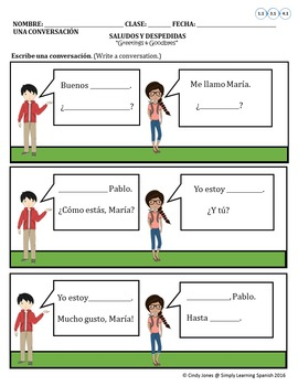 "SPANISH ""Greetings & Goodbye's"" COMIC STRIP"