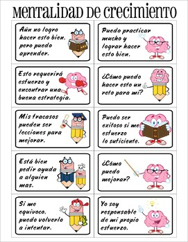 SPANISH Growth mindset charts and posters bundle