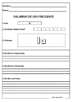 SPANISH HIGH FRECUENCY WORDS - PALABRAS DE USO FRECUENTE