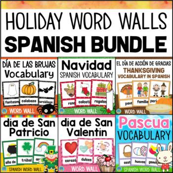 SPANISH Holiday Word Wall BUNDLE Halloween Thanksgiving Christmas Easter