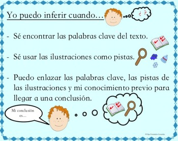 SPANISH INFERENCING LITERACY CENTER (ANCHOR CHARTS, TASK CARDS, WORKSHEETS,...)