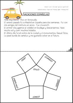 """SPANISH INTERACTIVE NOTEBOOK & QUIZ WORKBOOK """"Las Vacaciones"""" Grade 4+"""