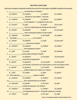 SPANISH INTERROGATIVES: QUESTION WORDS IN SPANISH / PALABRAS INTERROGATIVAS