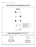 SPANISH Inverses and Steps for Solving Equations Reference Guide